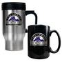 Travel Mug & Black Ceramic Mug Set